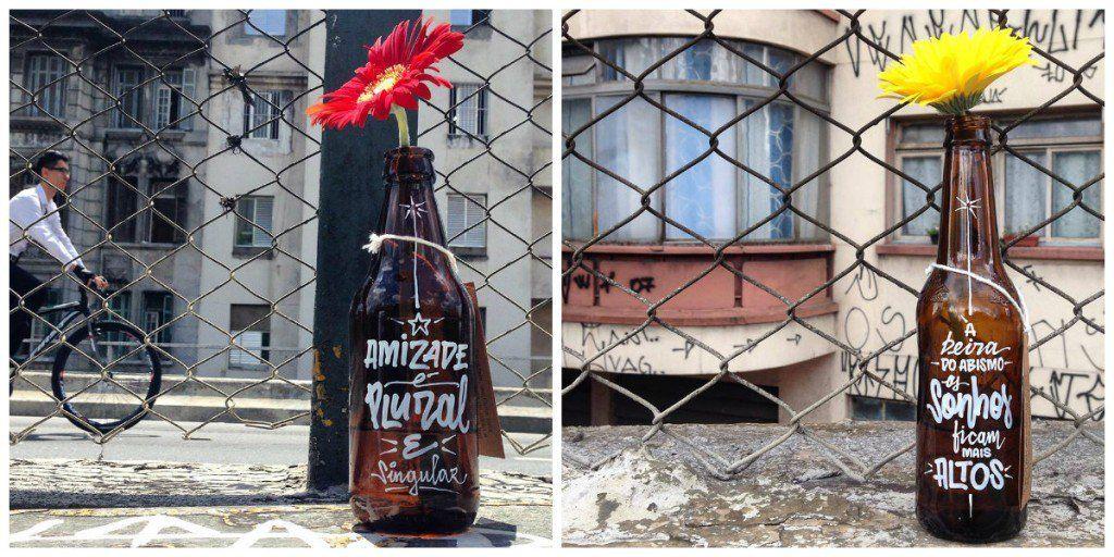 Publicitário pincela poesia em garrafas que iriam para o lixo