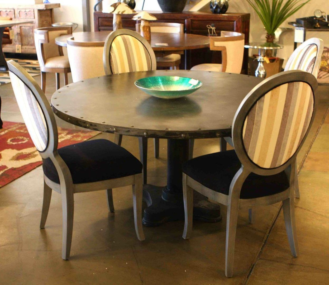 Industrial Modern Dining Table And Queen Ann Chairs Industrial