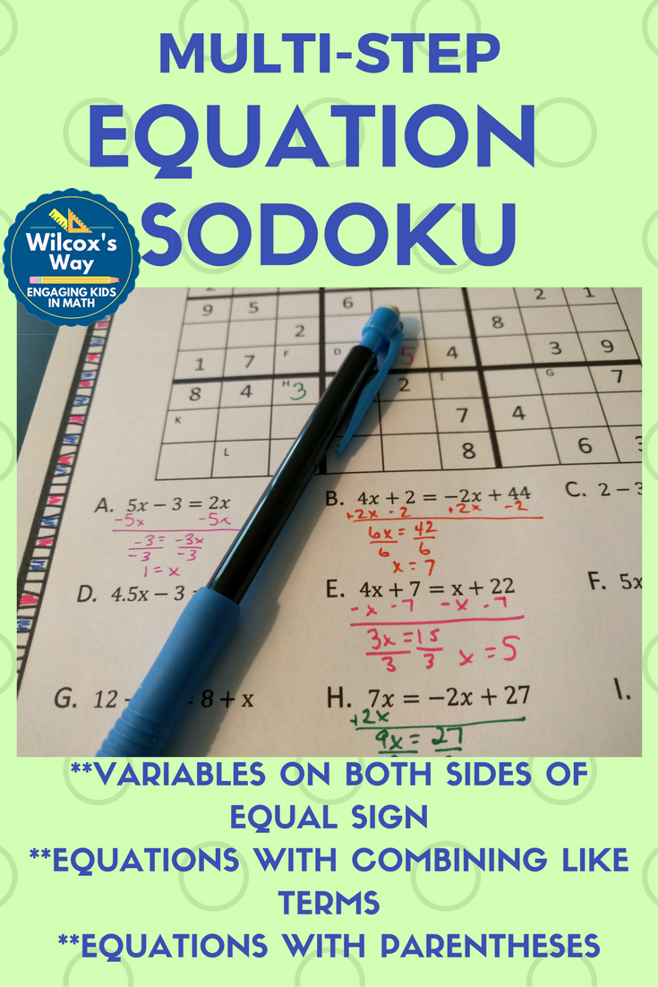Multi Step Equation Sudoku Game Solving equations