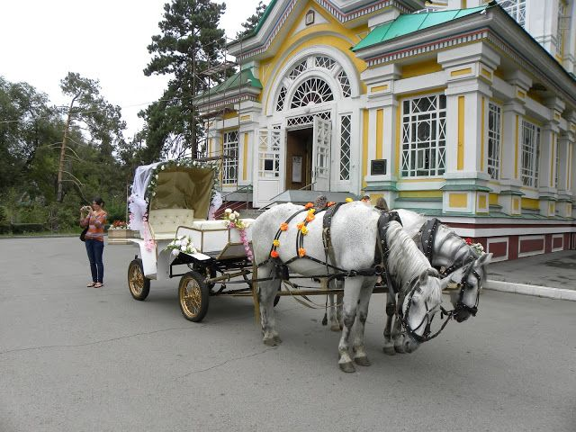 horses and cart in front of the Ascension Cathedral/ Zenkov Cathedral - Almaty, Kazakhstan
