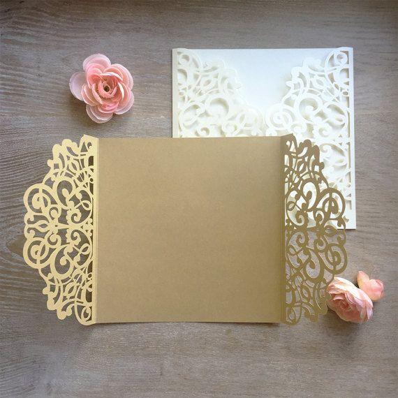 DIY Quadratische Lasergeschnittenes Gatefold Einladung   Laser Cut Hochzeit  Einladungen   Elegante Einladungen