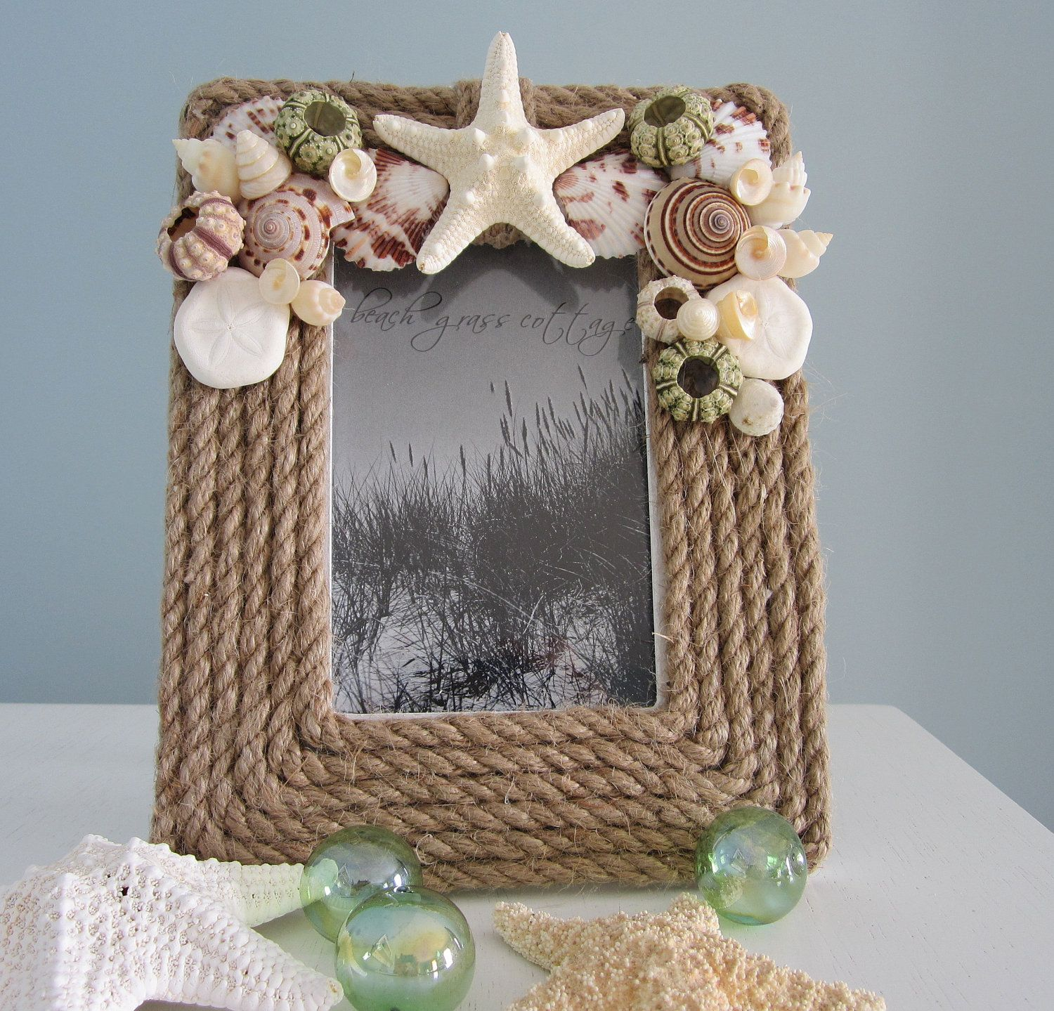Nautical Decor Rope Frame Beach Shell W Seashells Starfish 5x7 Brown