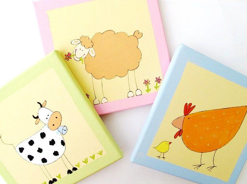 farm wall art for babies and kids room- farm animals- original