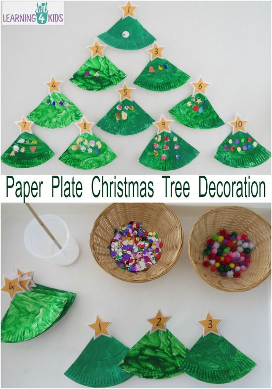 Paper Plate Christmas Tree Counting Decoration Paper Christmas Decorations Diy Christmas Decorations Easy Easy Christmas Diy