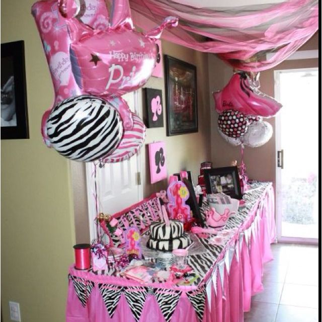 Duel birthday decor 1st birthday and 5th birthday Zebra barbie