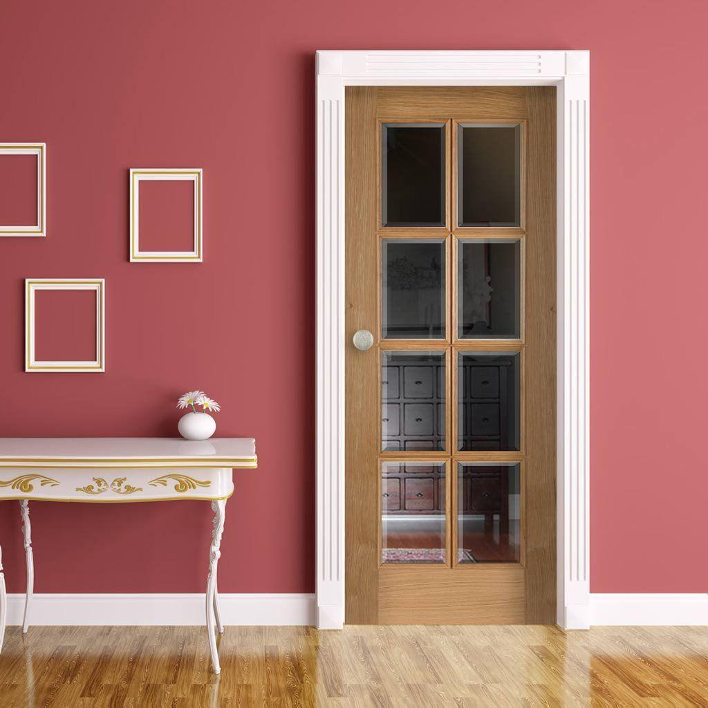 8 Light Oak Door With Raised Mouldings And Bevelled Clear Glass Oak Doors Internal Glazed Doors Internal Glass Doors