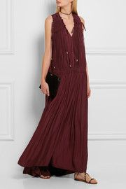 Ruched satin maxi dress