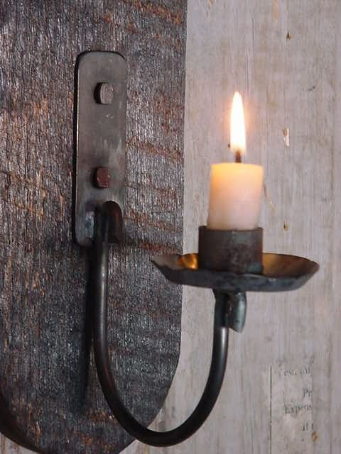 Blackened Wood Sconce Iron Candle Holder Primitive Early Lighting Wall Decor Farmhouse Industrial Simple