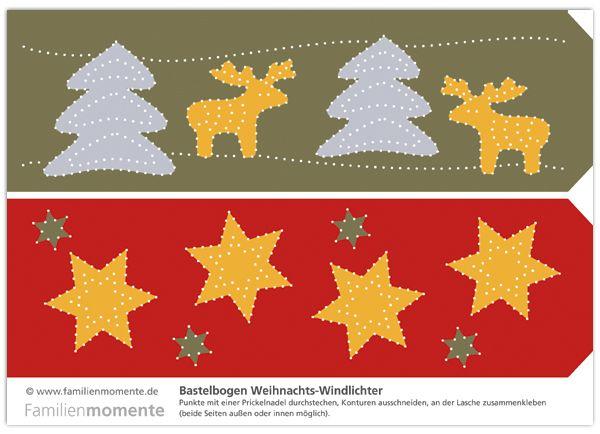bastelbogen f r weihnachts windlichter zum prickeln eine sch ne deko f r die weihnachtszeit. Black Bedroom Furniture Sets. Home Design Ideas