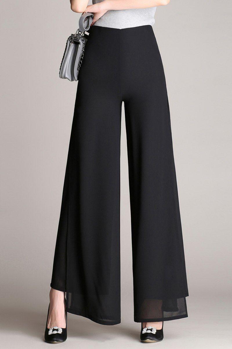 652072e9bd Mujeres señoras vintage Loose alta cintura larga Pantalones gasa lado split  casual Palazzo Plus size Pantalones anchos Pantalones