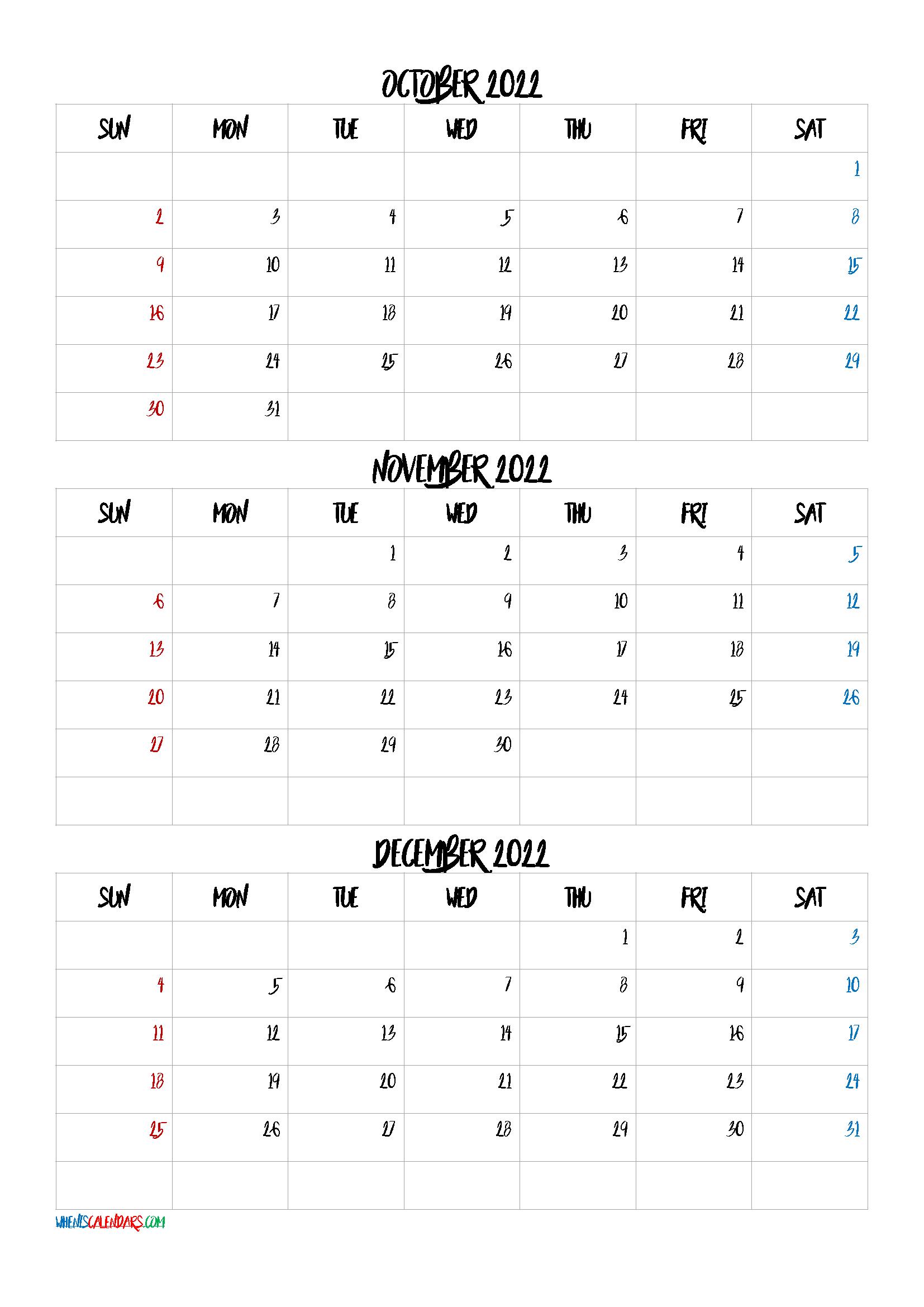 November December 2022 Calendar.Free October November December 2022 Calendar Q1 Q2 Q3 Q4 Calendar Template June Calendar Printable Calendar Printables