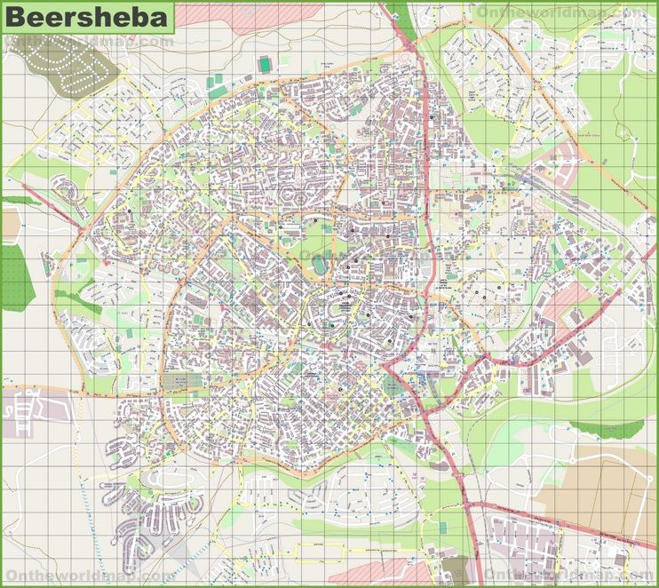 Large detailed map of Beersheba Maps Pinterest Israel