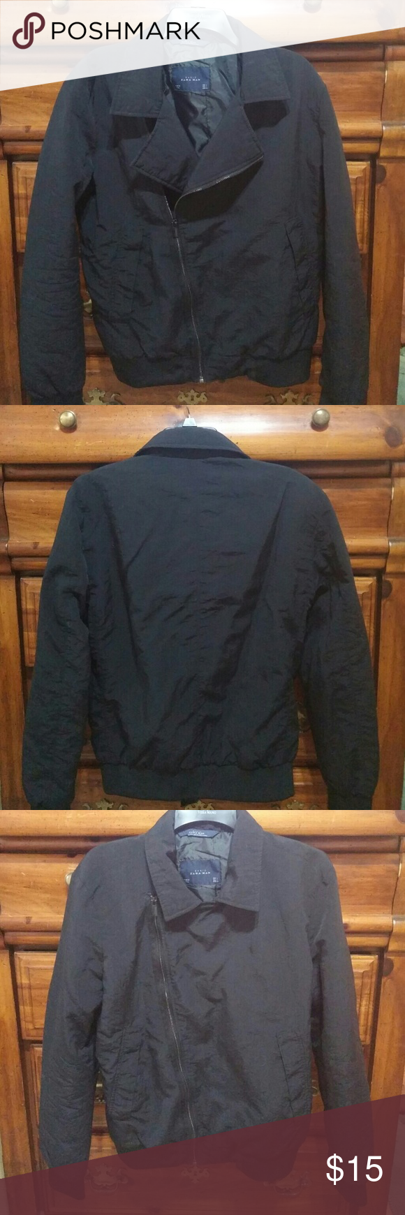 "Zara Man Black Oversized Jacket sz L Beautiful comfy oversized Zara Man Black Jacket. In clean like new condition. Has side pockets with one inside pocket. Pit to Pit 22"", Length About 26"", Zipper Length 22"". Zara Jackets & Coats Utility Jackets"