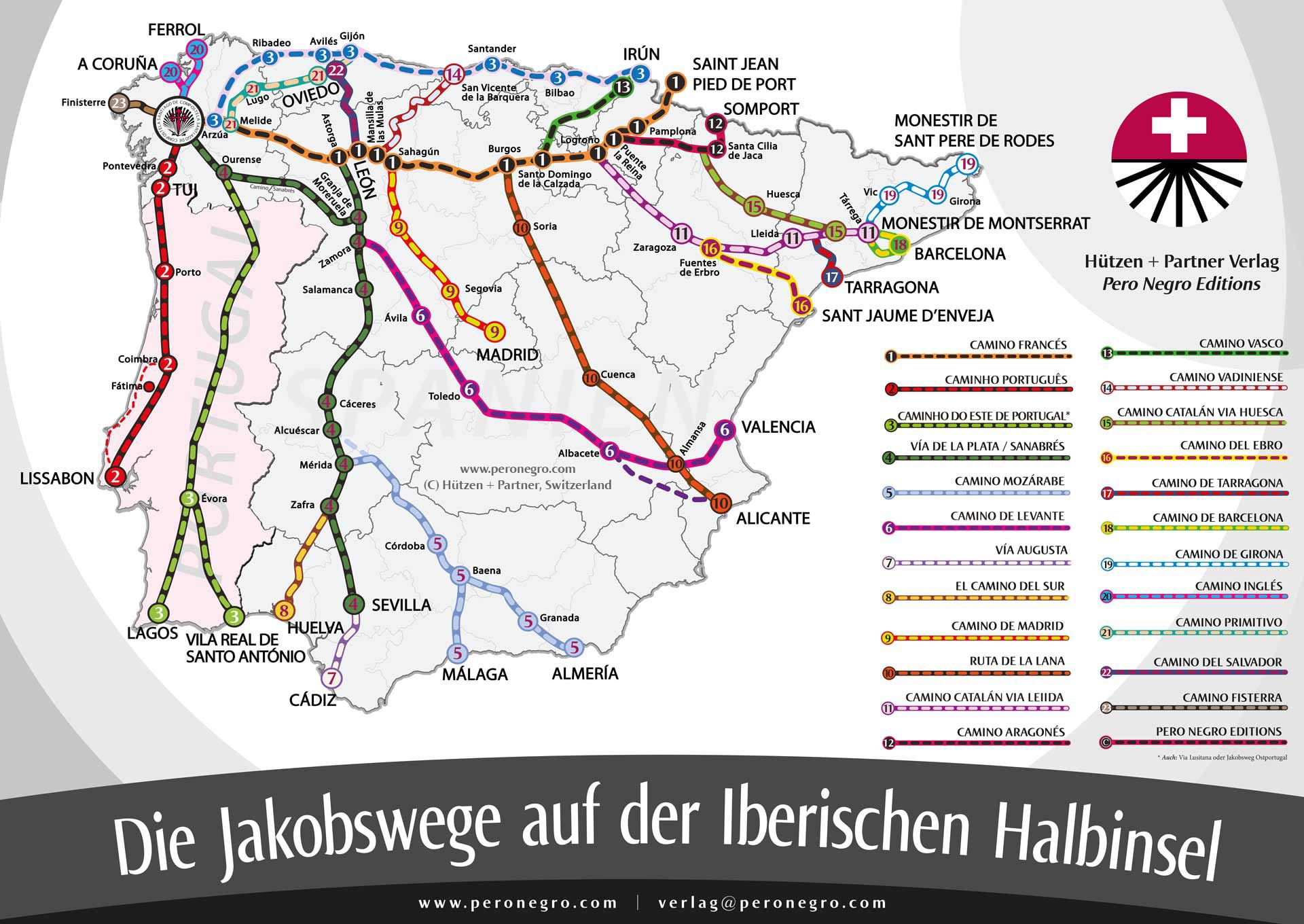 Jakobsweg Frankreich Spanien Karte.Alle Jakobswege In Spanien Portugal Neue Aktualisierte