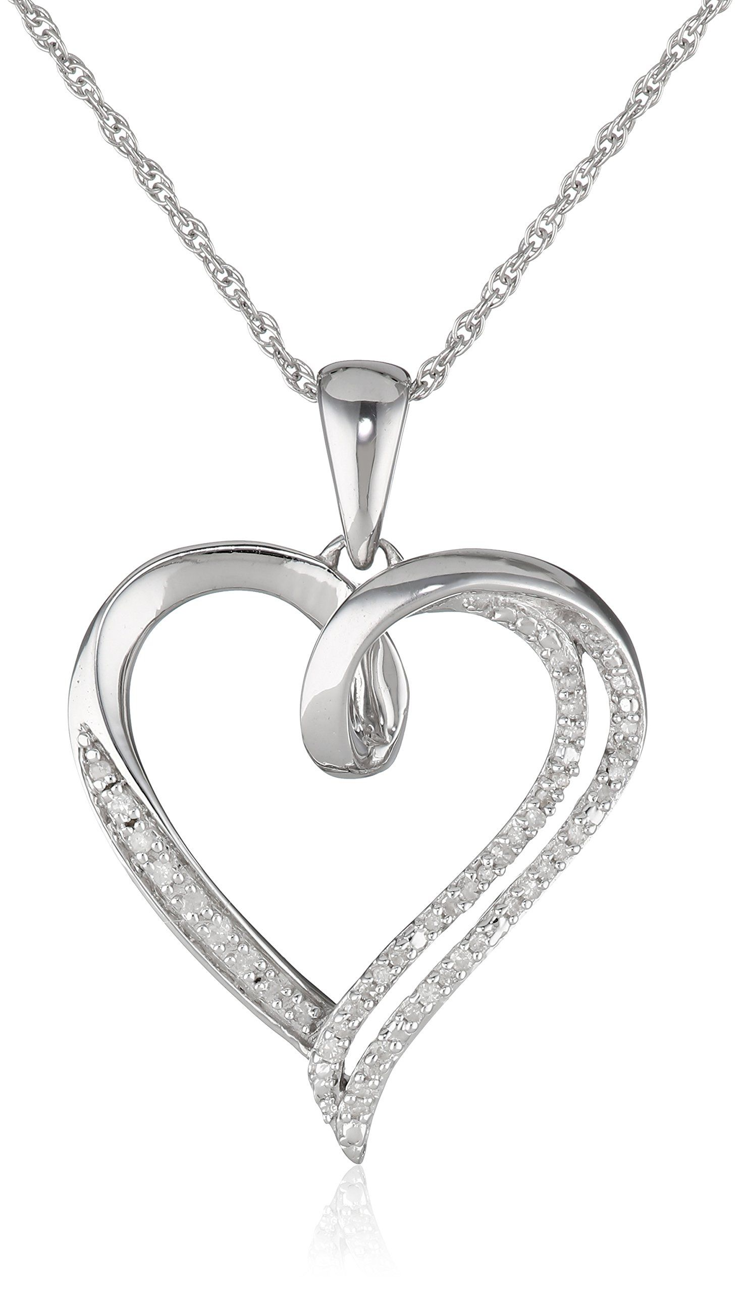 Rp sterling silver diamond individual prong setting heart pendant