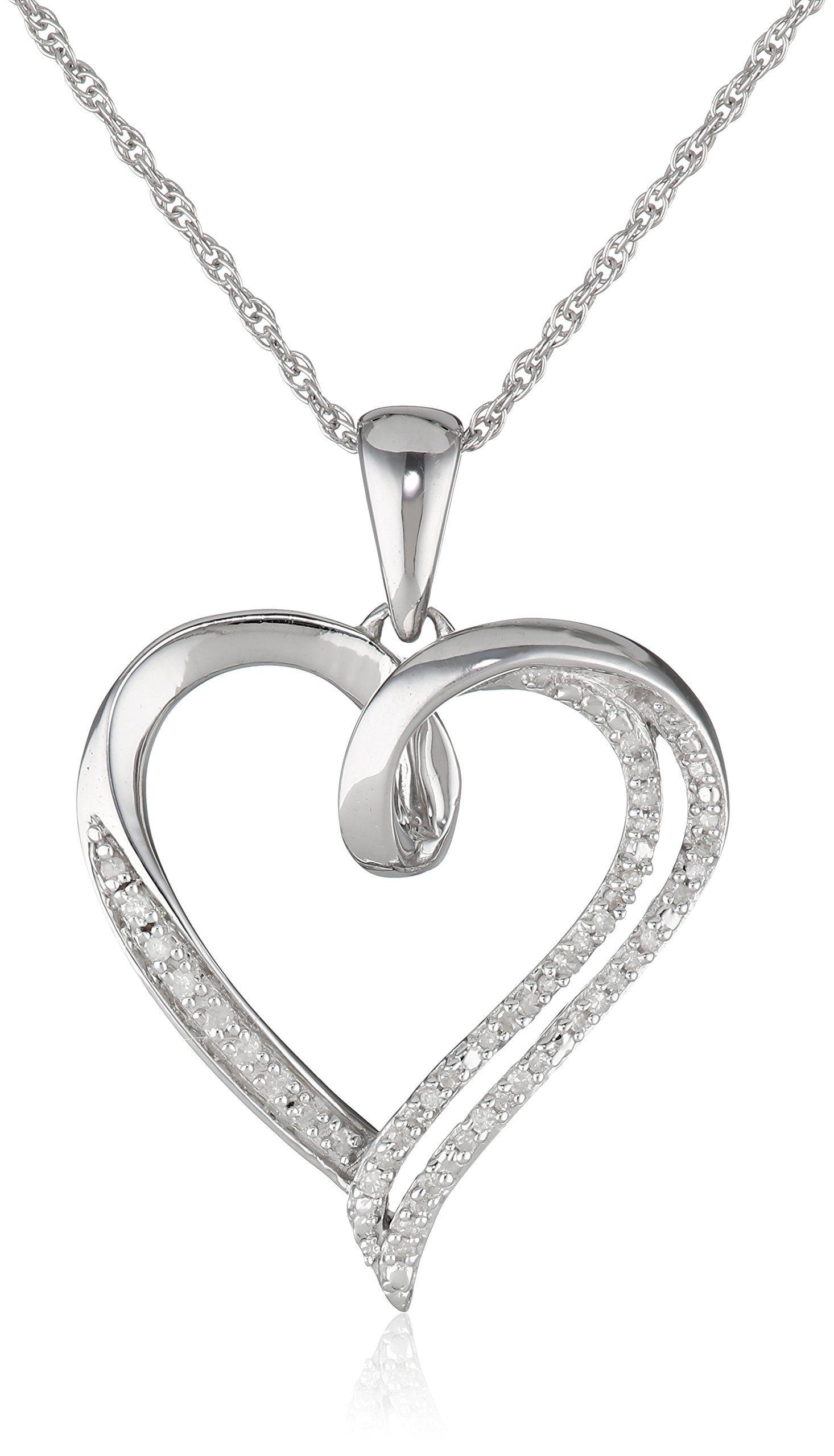 Rp sterling silver diamond individual prong setting heart pendant
