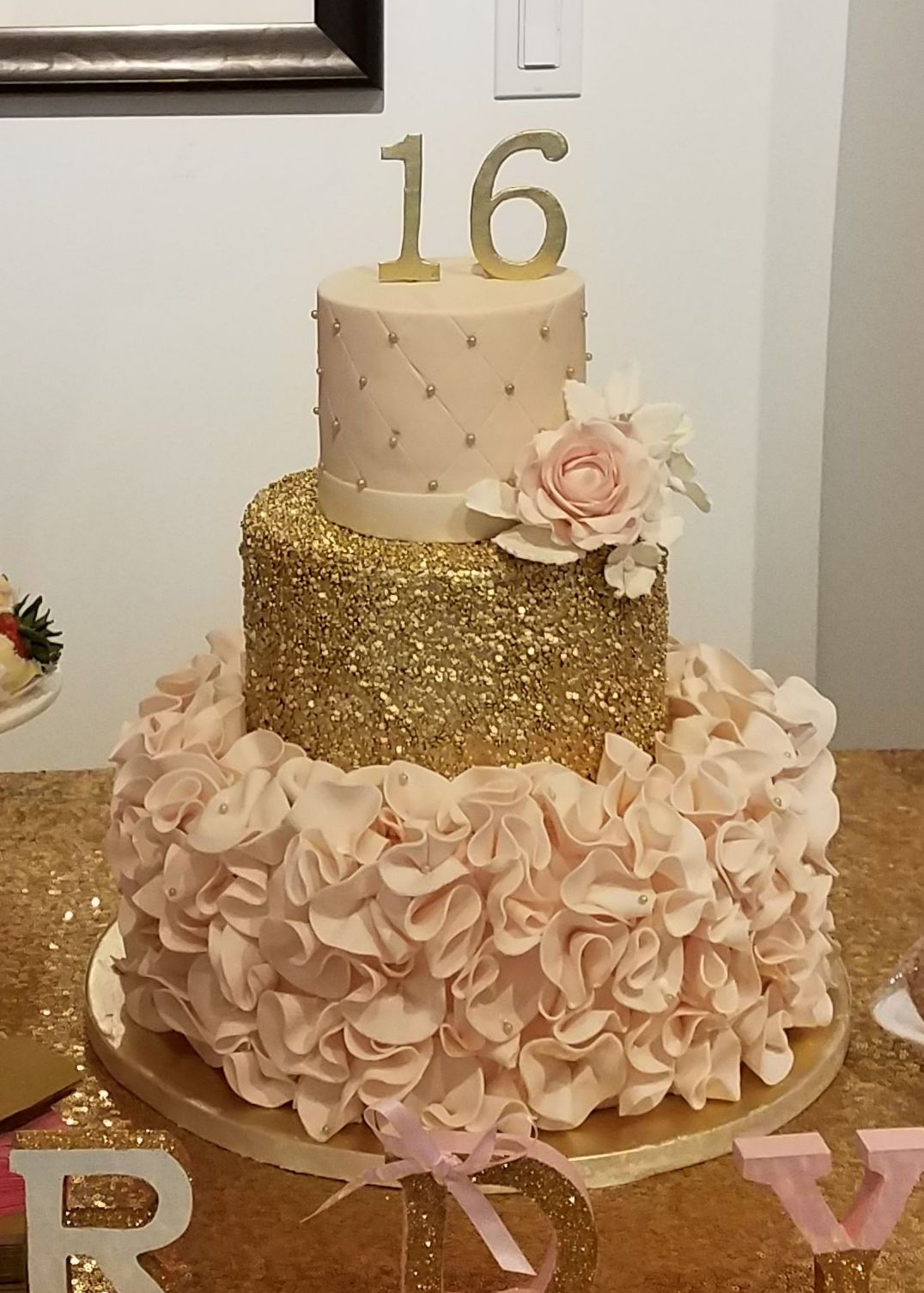 Sweet 16 Blush And Gold Birthday Cake Amy Beck Cake Design