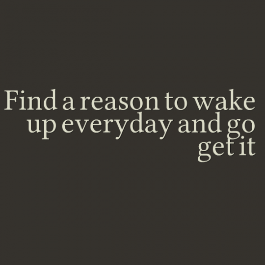 Find a Reason To Wake Up Everyday and Go Get it!
