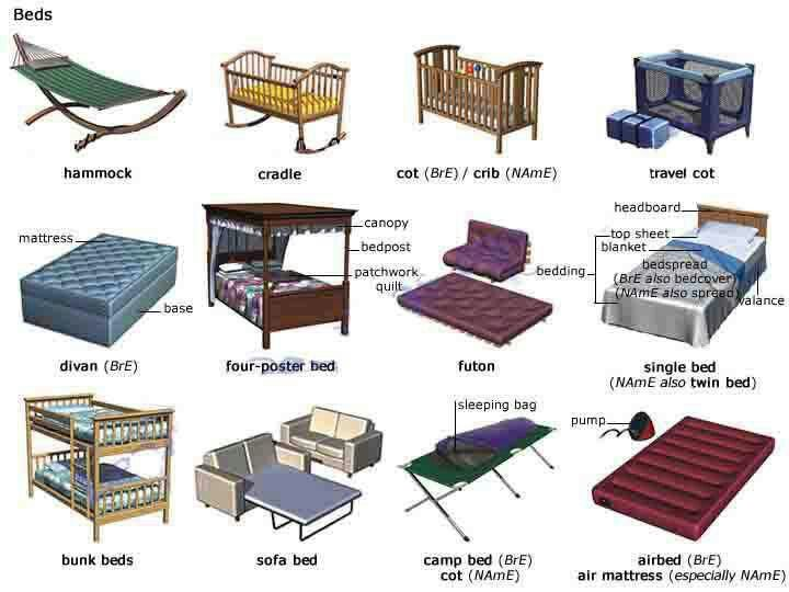 Different Types Of Bed English Vocabulary Learn English Vocabulary