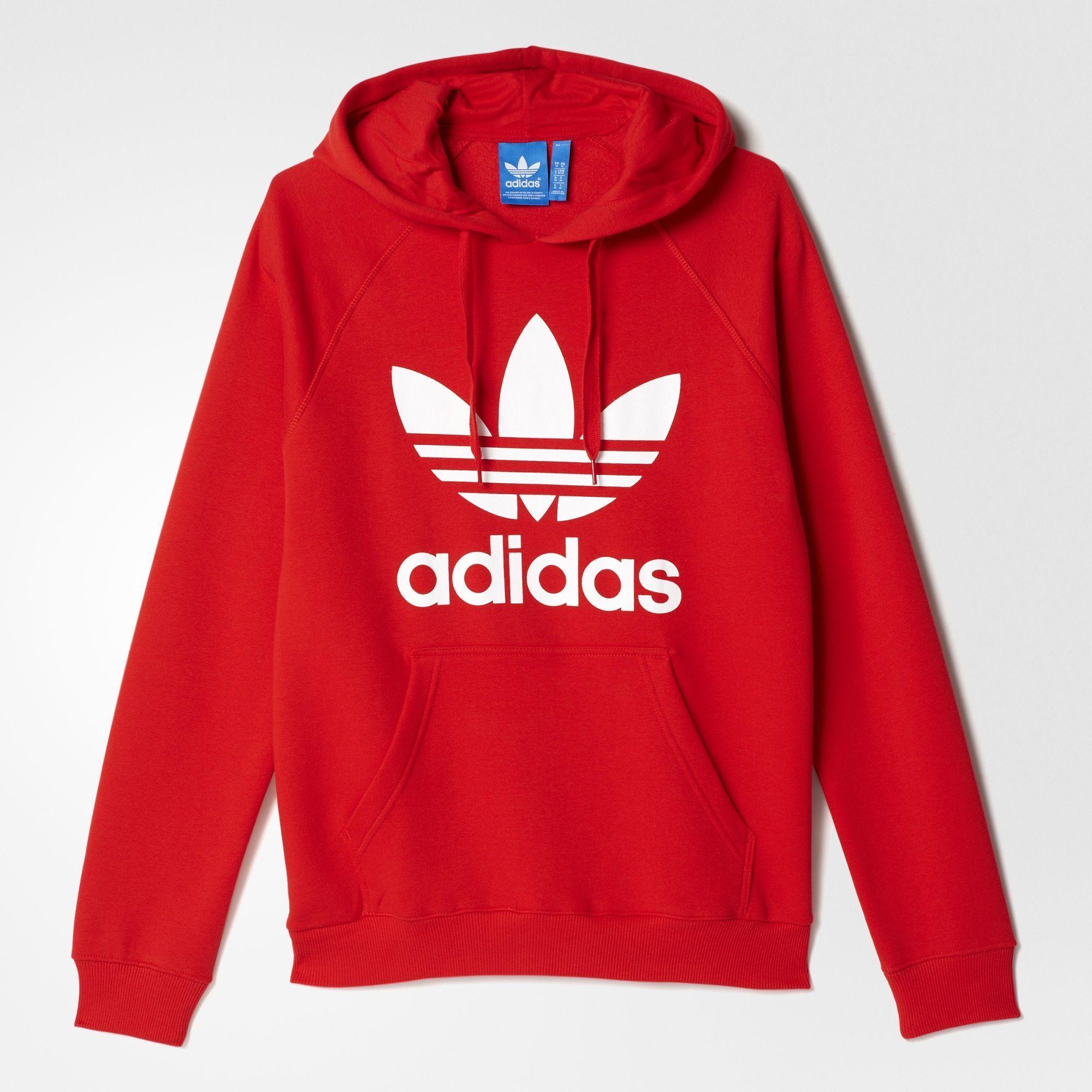Adidas Originals Men S Trefoil Hoodie Adidas Sweatshirt Red Adidas Hoodie Adidas Outfit