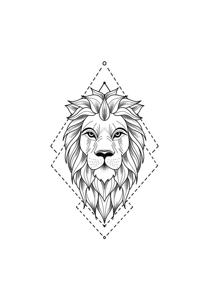 Realistische Lowenkopf Zeichnung Tattoo Vorlage