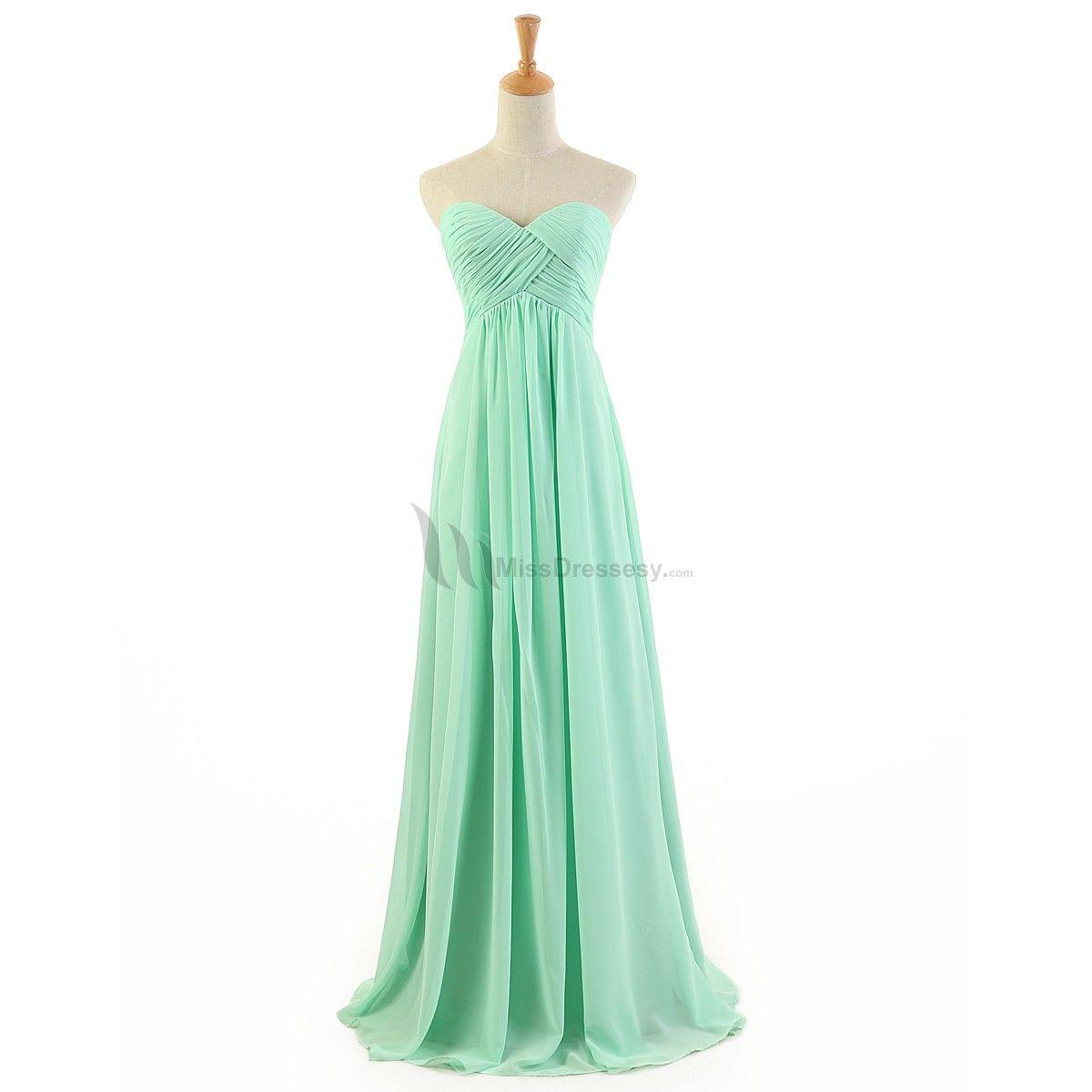 Buy fashion Simple Long Green Cheap Chiffon Prom dresses under 200 ...