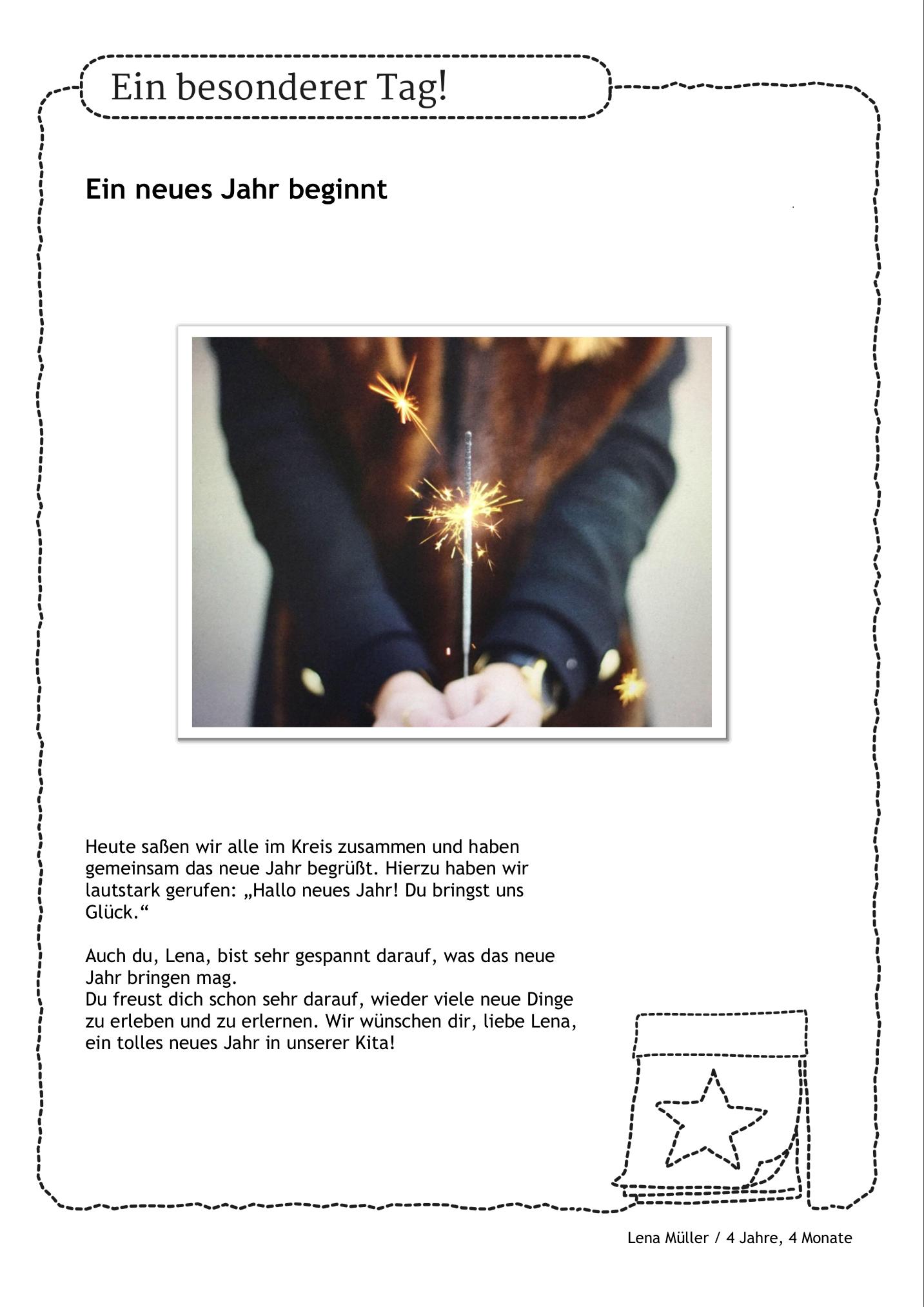 Portfolio für das neue Jahr. Die Kinder begrüßen das neue Jahr und ...