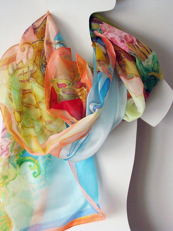 hand painted silk scarf on ponge silk 180x45 m s complementos pinterest. Black Bedroom Furniture Sets. Home Design Ideas