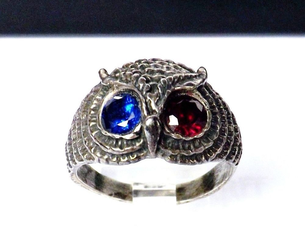 7b8bcd69c Vintage Sterling Silver 925 Gemstone Eyes Wise Owl Cast Mens Woman Sz 10.5  Ring #Artisan #owlring #valentinesday #shopping #loveit #ring #jewelry