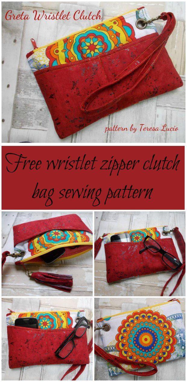 Greta Wristlet Clutch Bag Free Sewing Pattern Patternssewing
