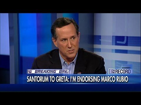 @contact1112 Santorum Tells Greta He's Dropping Out of Race, Backing Rubio | Fox News Insider #MarcoRubio #marcomentum #imwithmarco