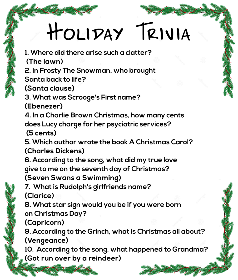 Holiday Trivia questions & answers Stress free holidays