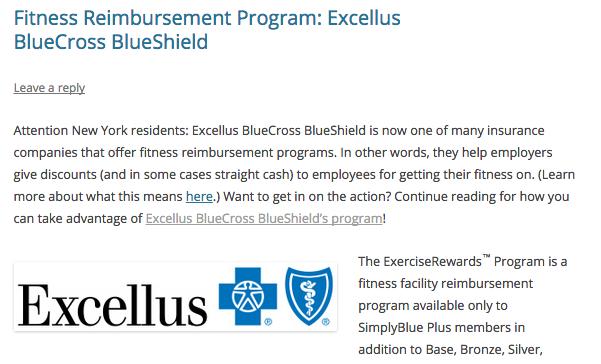 Fitness Reimbursement Program: Excellus