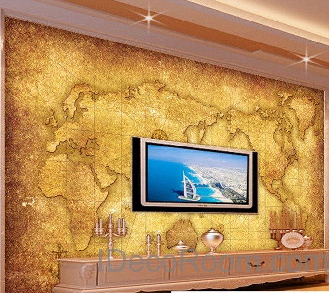3D Classic Navigation World Map Wallpaper Wall Decals Wall Art Print ...