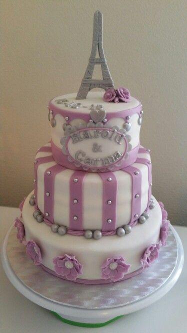 Paris themed wedding cake