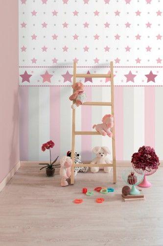 Tapetenbordüre Borte Sterne Rasch Textil weiß rosa 330501