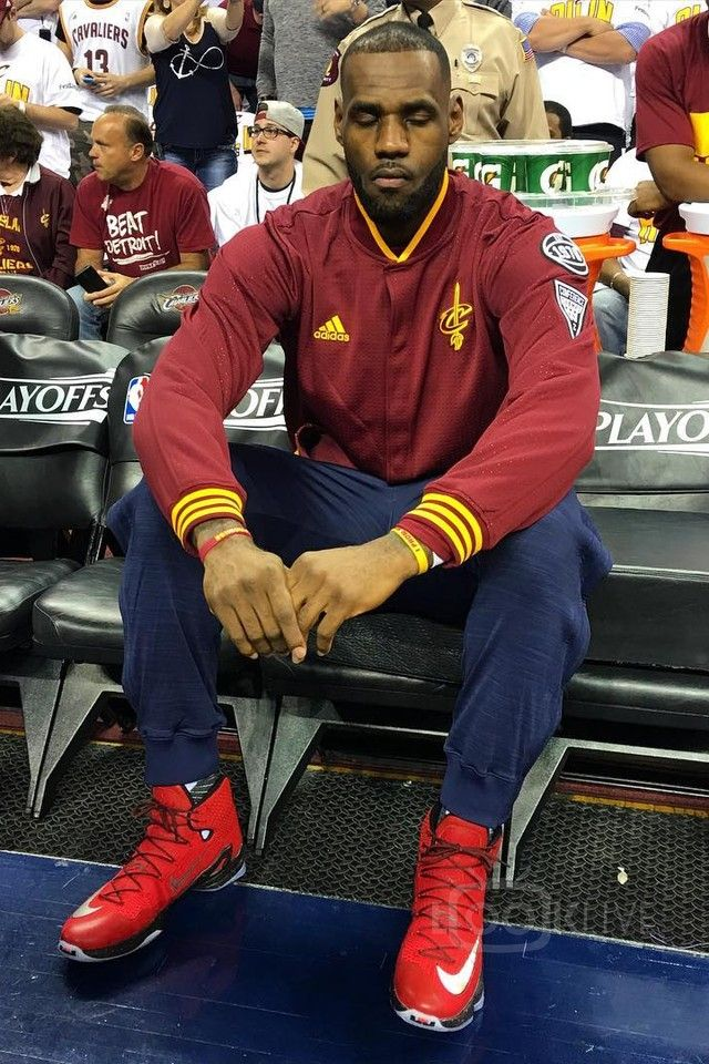 675e5a16ec9e LeBron James wearing Adidas Cleveland Cavaliers On-Court Warm-Up Jacket