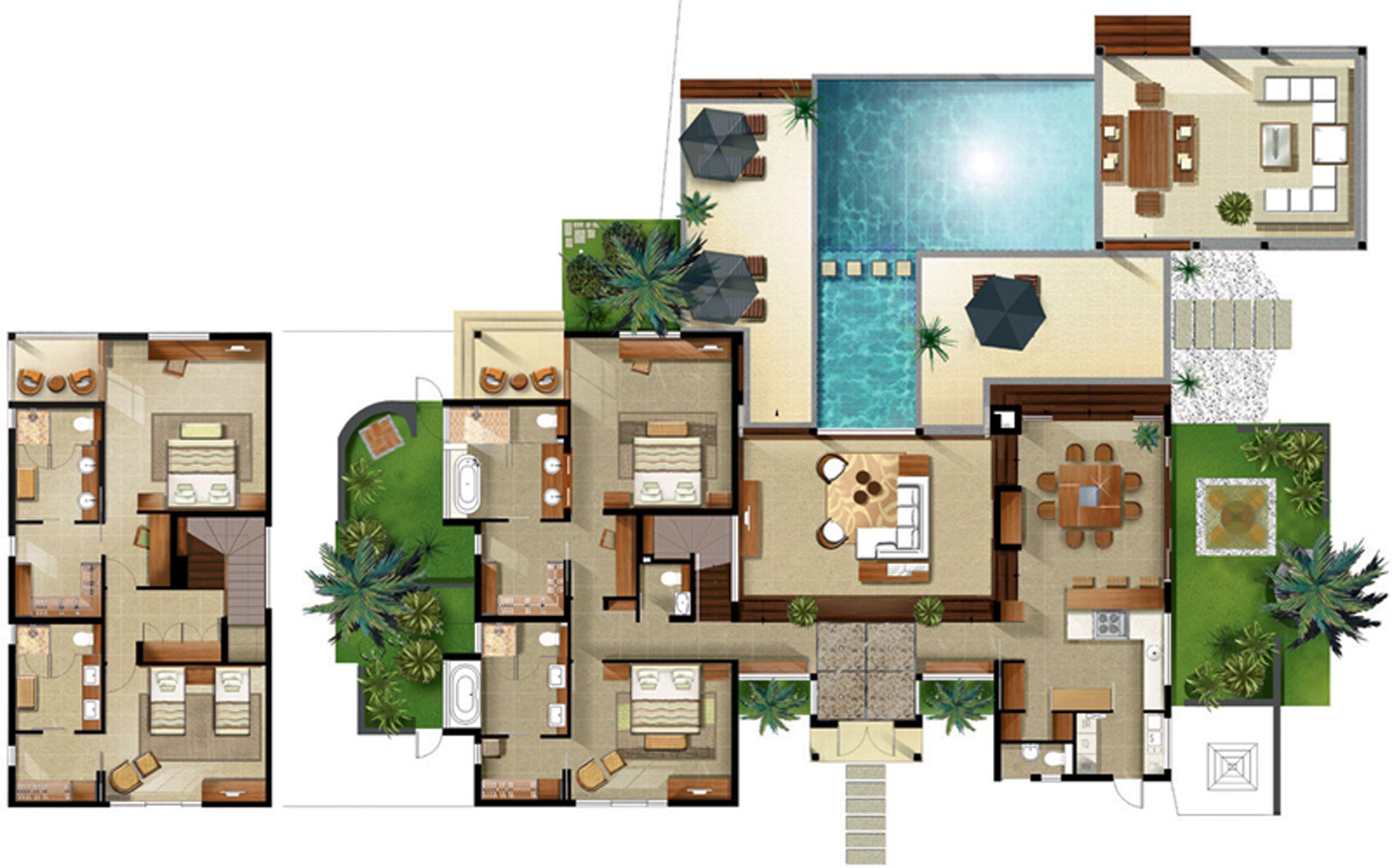 Disney Beach Club Villas Floor Plan Resort Villa Floor In 2020 Contemporary House Plans Villa Plan Small Modern Home