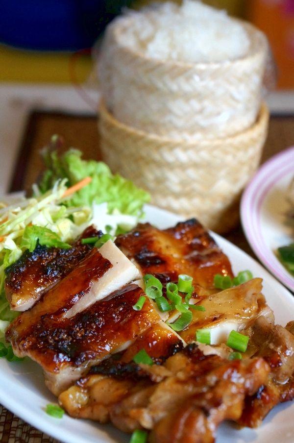 ไก่ย่าง (Gai Yang) and ข้าวเหนียว(Khao Niaow), Grilled