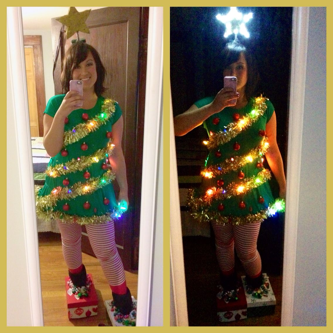 Christmas Tree Costume Green Dress Is Off Of Amazon Com Thanth Striped Pants Are From Ae Christmas Costumes Christmas Tree Outfit Christmas Tree Costume