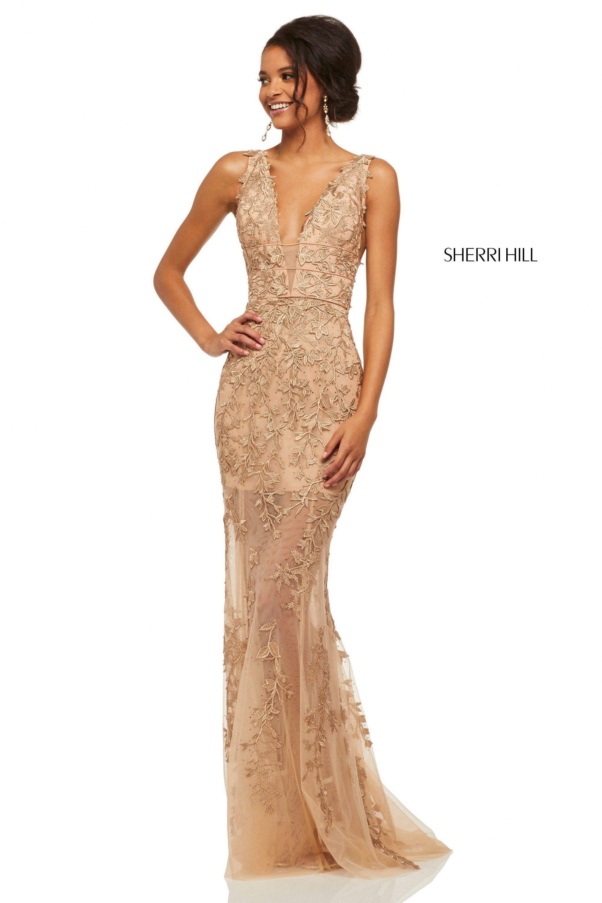 885be1ec512 Sherri Hill 52820 Sheer Lace Gown in 2019