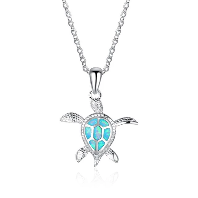 Opal Turtle Necklace Gemstone Pendant on Sterling Silver Chain