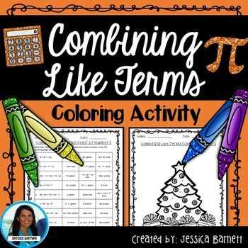 Combining Like Terms Coloring Activity Math Expressions