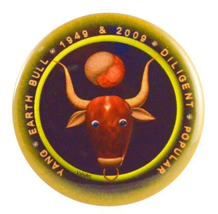 Zodiac Earth Bull Born 1949 2009 Two-Side Mylar Shell Keychain + Magnet $9.85 & FREE Shipping