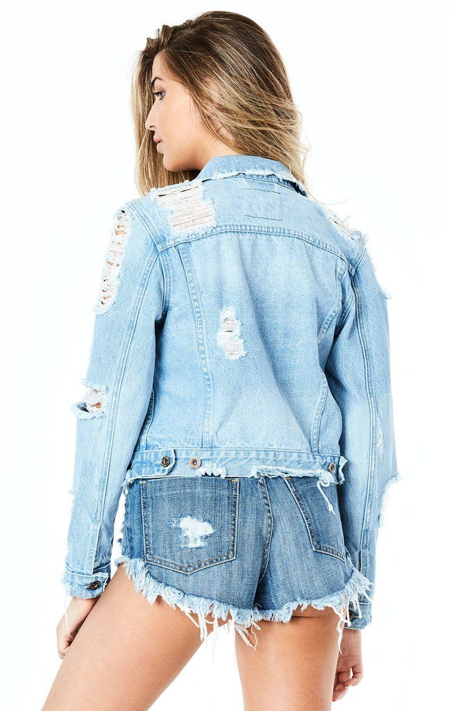 f3a9bbbb9b0f Medium light-wash denim jacket with a distressed bottom edge and ripped and  torn detailing on the shoulders and sleeves. Style    PUR-FV027 DARCY  Fabric  ...