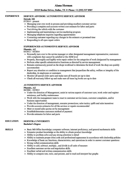 Auto Service Advisor Resume Unique Inspirational Automotive Service Advisor Resume Resume Examples Job Resume Examples Resume Skills