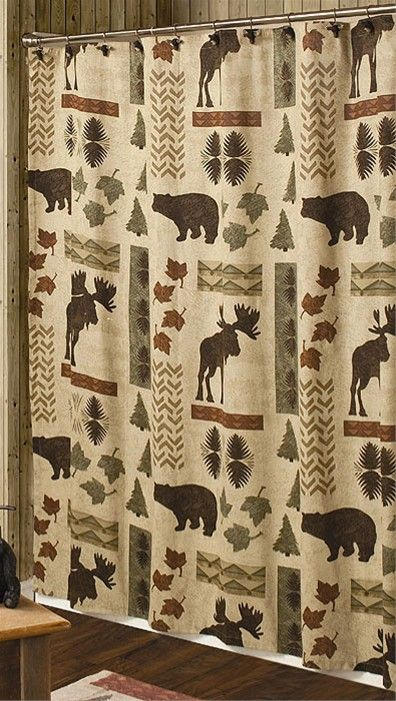 Big Country Shower Curtain Moose And Bear Lodge Decor