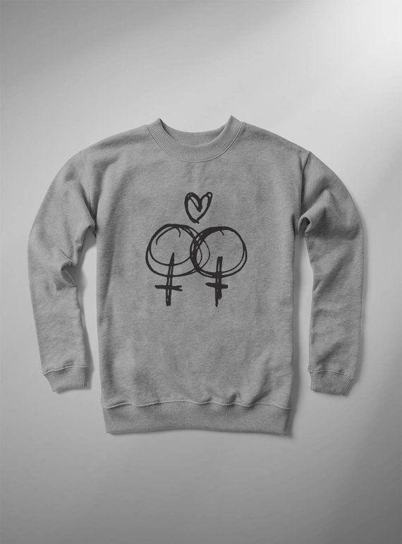 Lesbian girlfriend gift crewneck sweatshirt women jumper lesbian couple  pride graphic shirts gay pri