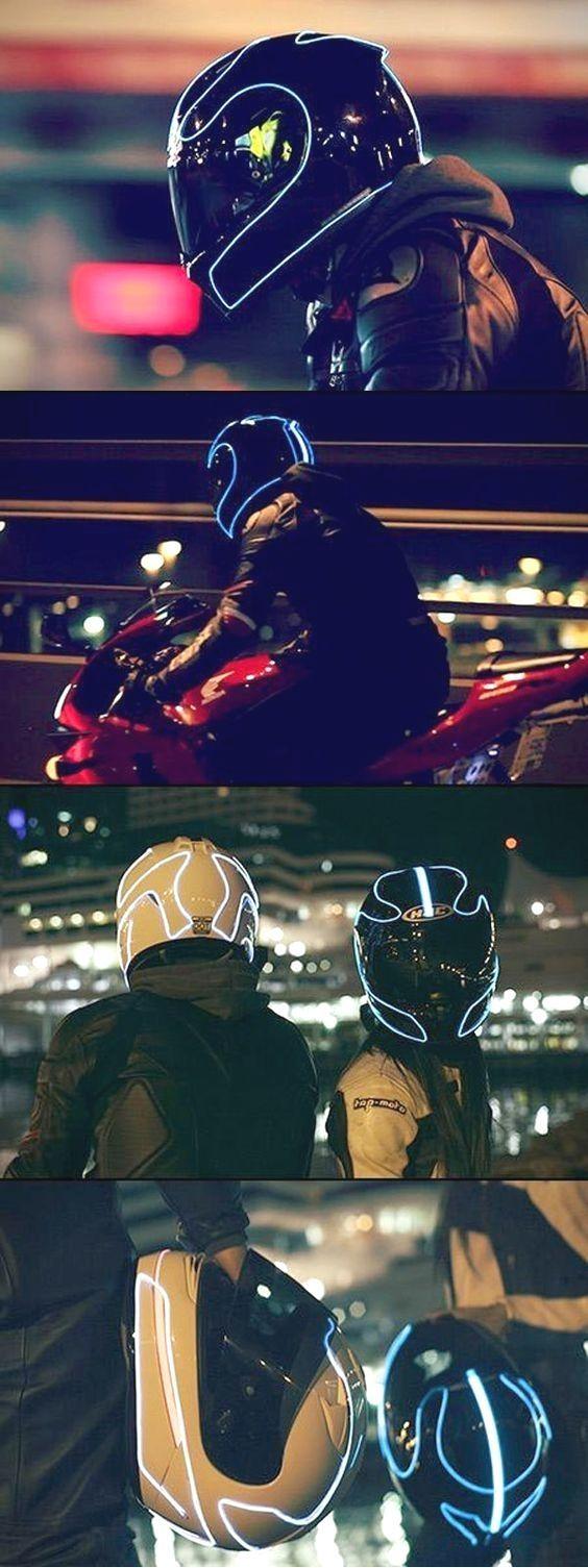 #Lights #light  Helmet Lights – How to light up your helmet like Tron. EL wire i…