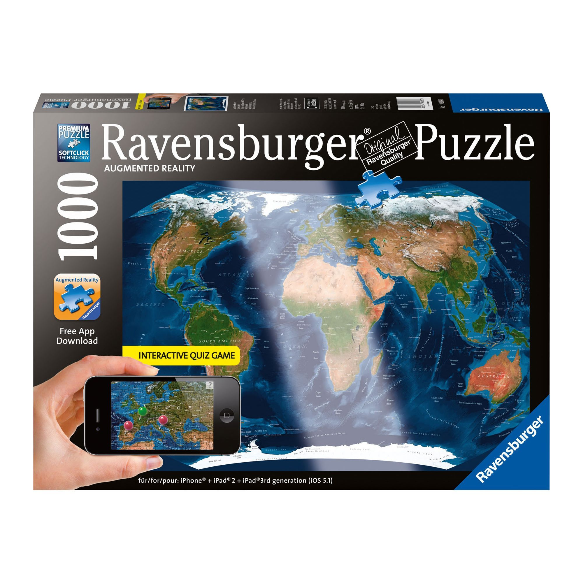 Ravensburger augmented reality satellite world map 1000 piece jigsaw ravensburger augmented reality satellite world map 1000 piece jigsaw puzzle gumiabroncs Image collections